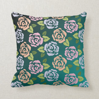 Roses Pattern 2 sided print- green & Red Pillow