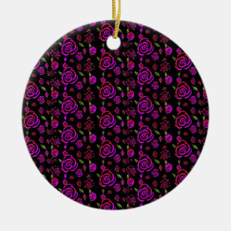 Roses Pattern Pink Christmas Ornaments
