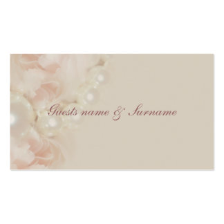 Roses pearls pink seating name tags for weddings business card