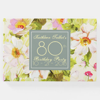 Roses Peonies 80th Birthday Party Guest Book