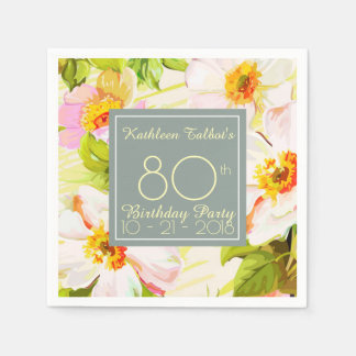Roses Peonies 80th Birthday Party Paper Napkin