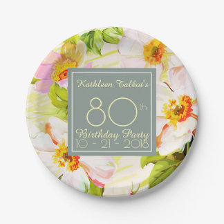 Roses Peonies 80th Birthday Party Paper Plate