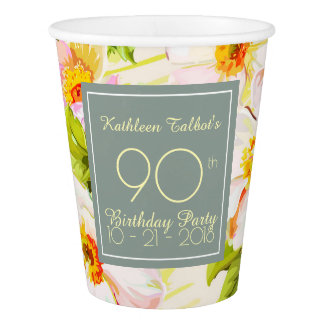 Roses Peonies 90th Birthday Party Paper Cup
