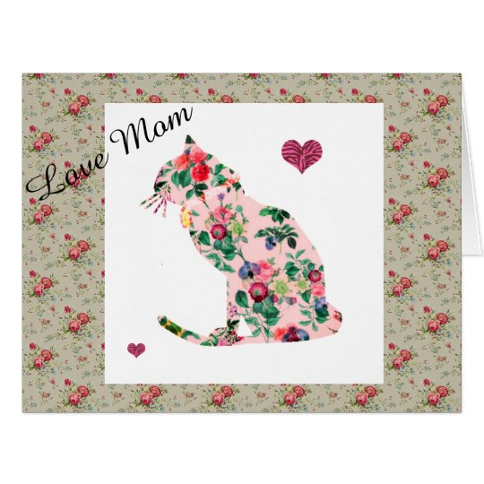 Roses Pink Floral Cat Decorative Card For Mum