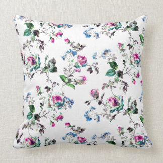 Roses - Pink Roses & Blue Flowers Over White Throw Pillow