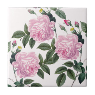 Roses Pink Vintage Dream Ceramic Tile