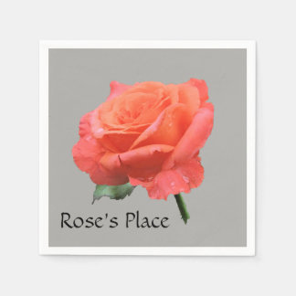 """Rose's Place"" Photo of Salmon Rose Disposable Napkins"