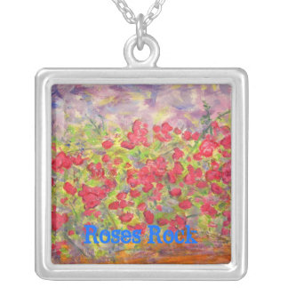 Roses Rock Square Pendant Necklace