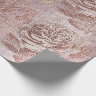 Roses Rose Gold Pastel Metallic Floral Delicate Wrapping Paper