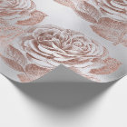Roses Rose Gold Pastel Metallic Floral Silver Grey Wrapping Paper