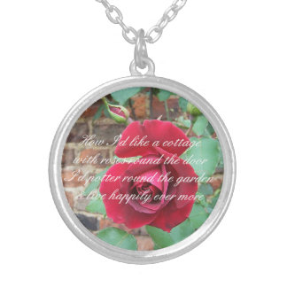 Roses round the door poem silver plated necklace