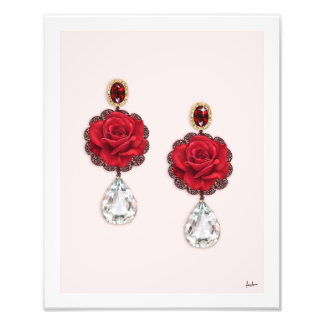 Roses Ruby Diamond Earring Fashion Illustration Photo Print