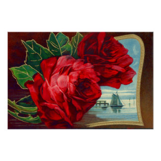 Roses Sailboats Ocean Vintage Father's Day Poster
