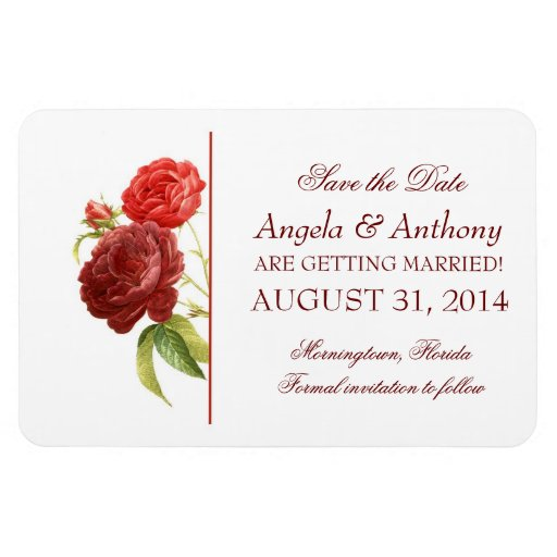 roses save the date wedding magnet