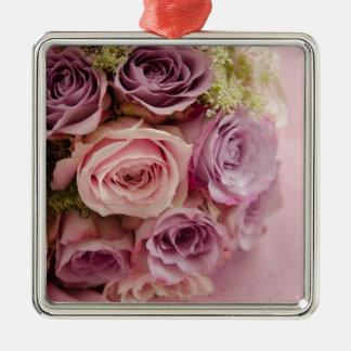 Roses Silver-Colored Square Decoration