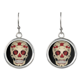 Roses Skull Earrings -Day of the Dead Jewelry