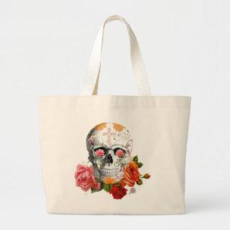 Roses skull jumbo tote bag