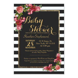 Roses Stripes and Gold Baby Shower Invitations