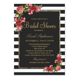 Roses Stripes and Gold Bridal Shower Invitations