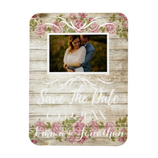 Roses Template Save the Date white script Rectangular Photo Magnet