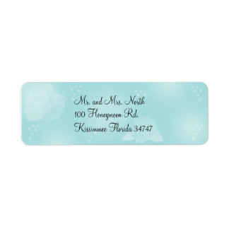 Roses Turquoise Return Address Label