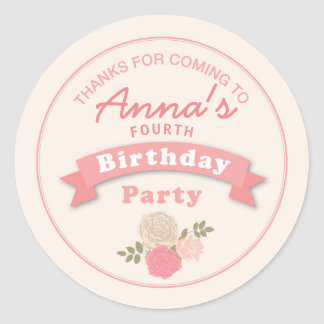 Roses Vintage Birthday Party Thank you Sticker