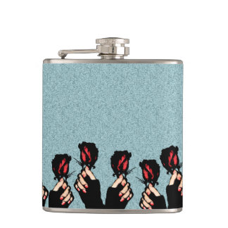 Roses Vinyl Wrapped Flask