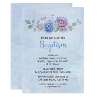 Roses Watercolor Baptism Card