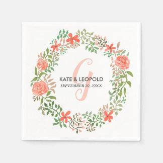 Roses Watercolor Floral Wreath   Wedding Monogram Paper Serviettes