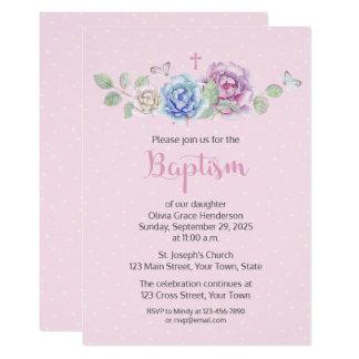 Roses Watercolor Pink Hearts Baptism Card