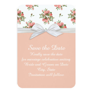 """Roses White Damask Save the date 3.5"""" X 5"""" Invitation Card"""