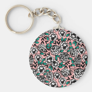 Roses White/Pink Love Floral Flower /Andrea Lauren Basic Round Button Key Ring
