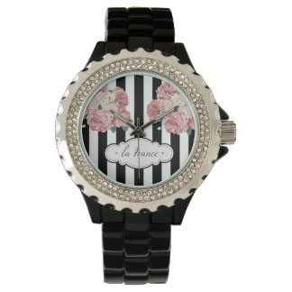 Roses with Black and White Stripes Wristwatch