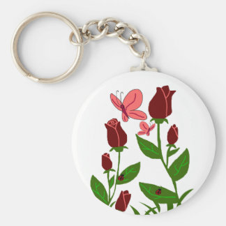 Roses with butterflies key chain