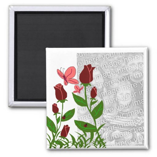 Roses with butterflies template magnet