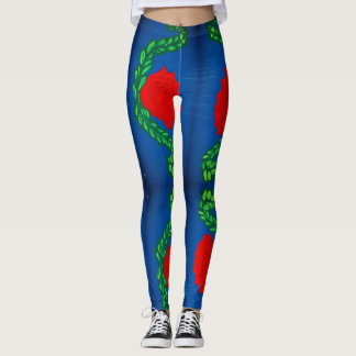 roses with color blue background leggings
