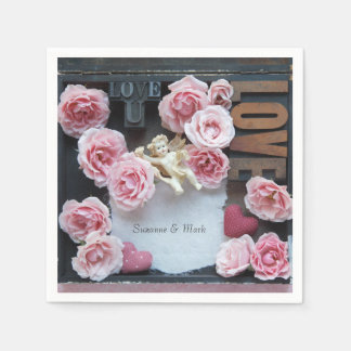 Roses with love words and angel paper serviettes