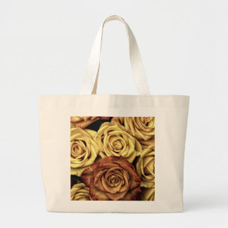 Roses yellow and red large tote bag