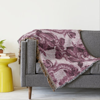 Rosewater Vintage Botanical Floral Toile Fabric Throw Blanket