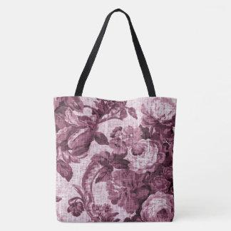 Rosewater Vintage Botanical Floral Toile Fabric Tote Bag