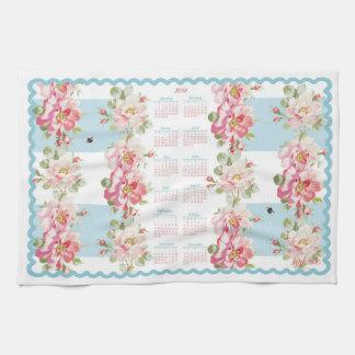Rosewitha aqua stripe 2018 calendar tea towel