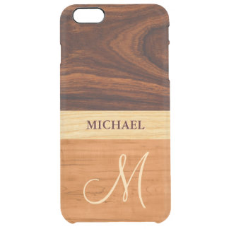 Rosewood Oak Mixed Wood Grain Look - Monogrammed Clear iPhone 6 Plus Case