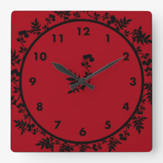 Rosey Wine Square Wall Clock