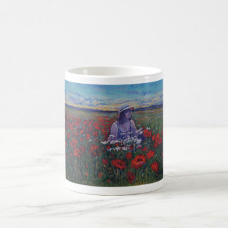 Rosie in evening poppies coffee mug