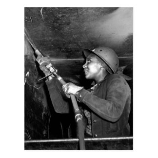 Rosie Riveter Scaling the Slag from Liberty Ship Postcard