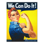 Rosie Riveter Vintage Propaganda 11 Cm X 14 Cm Invitation Card