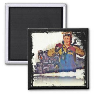 Rosie Riveter Works on the Rail Road WWII Fridge Magnet