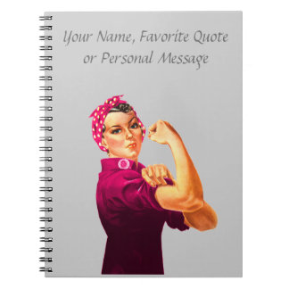 Rosie The Riveter - Cancer Pink Spiral Notebook