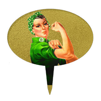 Rosie The Riveter - Green Military Cake Toppers