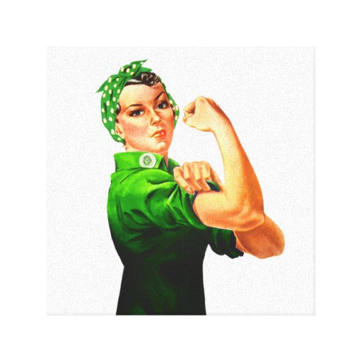 Rosie The Riveter - Green Military Stretched Canvas Prints